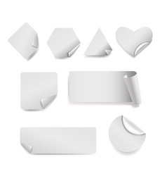 set of white paper stickers on background vector image
