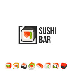 sushi and roll logo template japanese vector image