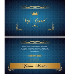 Blue vip card vector image