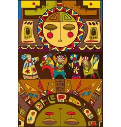 Ethnic People Sun Background vector image