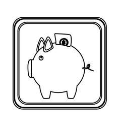 figure emblem pig to save bill icon vector image