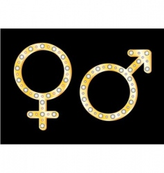gold gender symbols vector image vector image