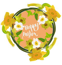 happy easter card with yellow narcissus vector image