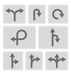 monochrome icons with direction arrow vector image vector image