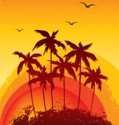 palms sunset vector image vector image