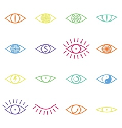 Set of Various Color Eye Icons on White Background vector image vector image