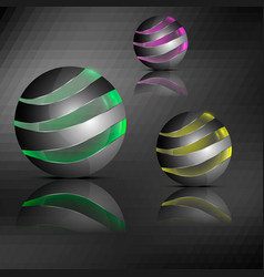 spheres with transparent stripes vector image