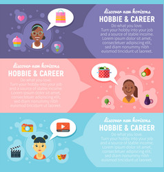 Women hobbies and career banners with flat girls vector