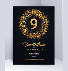 9 years anniversary invitation card template vector