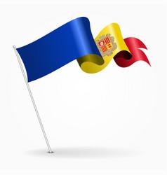 Andorran pin wavy flag vector