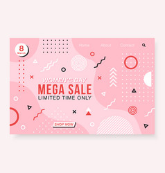 banner with geometric forms lines and dots in vector image