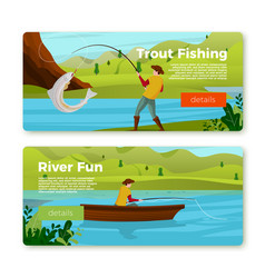 banners fisherman on river boat with trout vector image