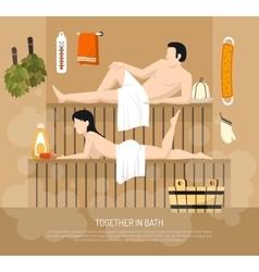 Bath Sauna Family Visit Poster vector image