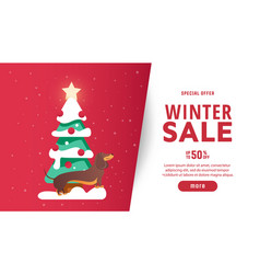 beautiful christmas poster with fir tree and dog vector image