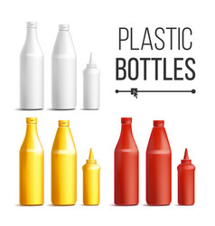 blank white red yellow plastic bottles vector image