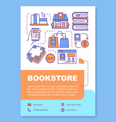 Bookstore poster template layout buying books vector
