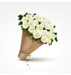 bouquet white roses isolated vector image
