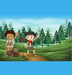 Boy scout in the jungle vector