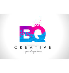 bq b q letter logo with shattered broken blue vector image