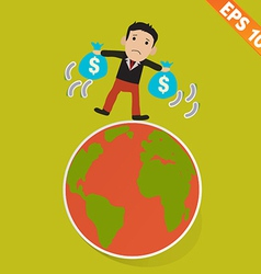 Cartoon Businessman walking on the earth vector image