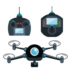 cartoon drone and controls graphic isolated vector image