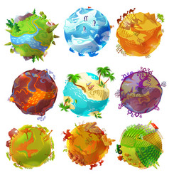 Cartoon earth planets set vector