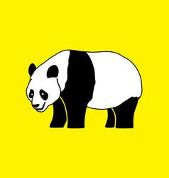 Cartoon fat panda standing side view vector