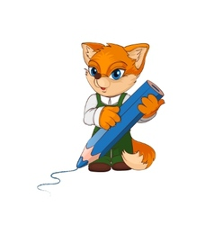 Cartoon fox character with big pencil vector image