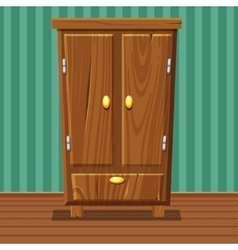 cartoon funny closed wardrobe Living room wooden vector image