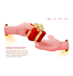 cartoon realistic hand giving red present vector image