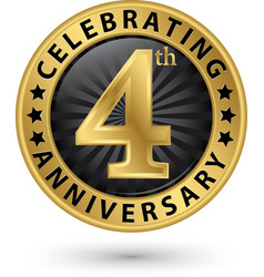 celebrating 4th anniversary gold label vector image