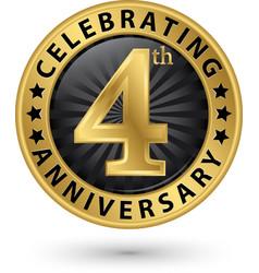 Celebrating 4th anniversary gold label vector