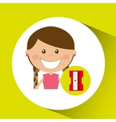 Cheerful girl study sharpener design vector