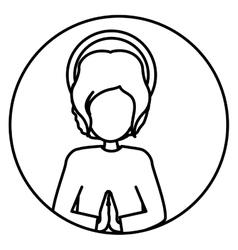 Circular silhouette half body baby jesus vector