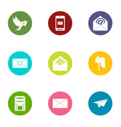 Correspondence icons set flat style vector