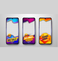 Creative sale banner social media story templates vector