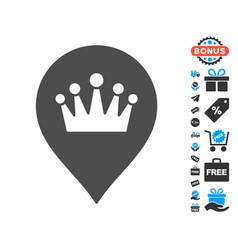 Crown marker icon with free bonus vector