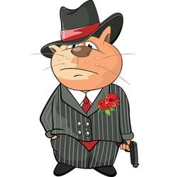 Cute Cat Gangster Cartoon vector image