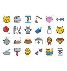 cute cat related icon such as cat litter box vector image