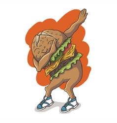 dabbing dance hamburger vector image