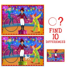 Differences kids game circus stage and performers vector