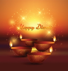 Diwali background with burning oil lamp vector image