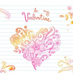 Doodle ornamental heart vector