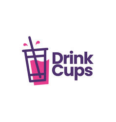 drink cup packaging soft logo icon vector image
