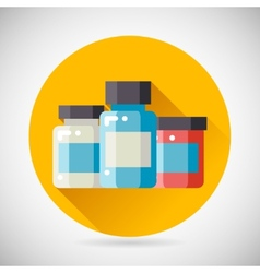 Drug Cure Medicine Box Vial Bottle Jar Icon heal vector image