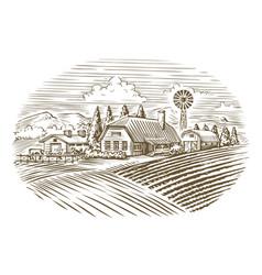 Farm agriculture farming sketch vintage vector