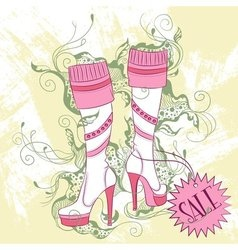 Fashion of a pair of womens high boots vector