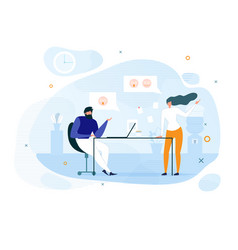 Flat coworkers and office informal communication vector