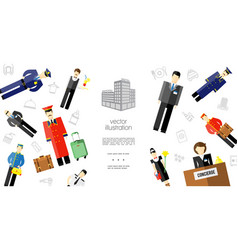 flat hotel staff template vector image