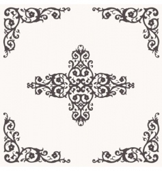 Floral border and ornaments vector